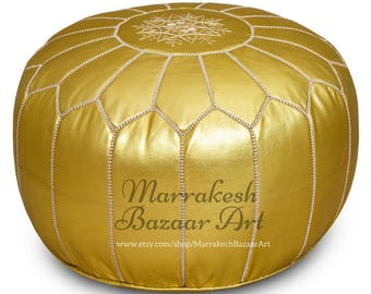 Premium Stuffed Handmade Gold Metallic Leather Moroccan Pouf, Ottoman - Filled
