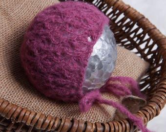 Franny Newborn Bonnet Pattern, Knit PDF Pattern, Newborn Hat Pattern, PHOTO shoot prop, Knit, Lace weight, PDF, Newborn hat