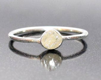 Raw Diamond Ring in Sterling Silver
