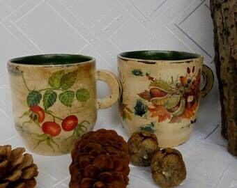A pair of cups for decoration, handmade, unique, vintage style
