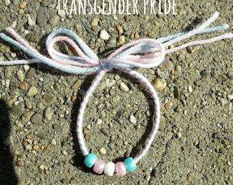 Transgender Pride Bracelet Handmade [wool + beads]