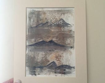 Mountain Peaks - abstracted landscape - textured original painting