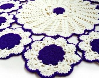 Purple Crochet doily, large doily, crochet doilies, lace doily, napkin, home decor, crochet coasters, crochet pattern, doily, round doily