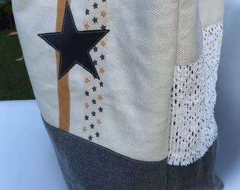 Star reversible linen tote bag