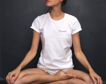 For Yoga Lovers - 'Namaste' Hand Embroidered  boyfriend style T Shirt italic letters / hand embroidery / white tee / shirt