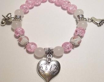 Baby Steps Pink Beaded Bracelet
