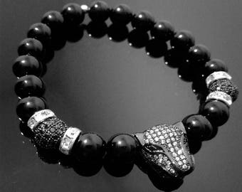 Black-On-Black Panther Beaded Bracelet