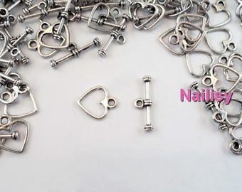 Set of 50 silver hearts REF2404 toggles clasps