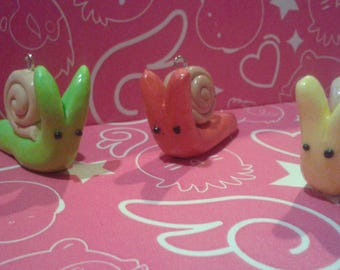 Small Handmade Polymer Clay Snail Charms: Key Chain Accessories