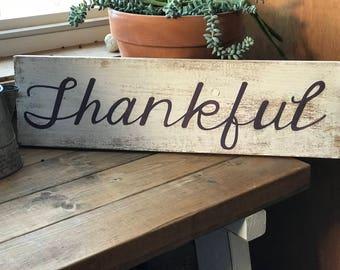 Thankful Handpainted Wood Sign