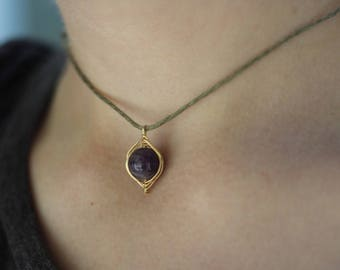 Amethyst Wire Wrapped Choker Necklace