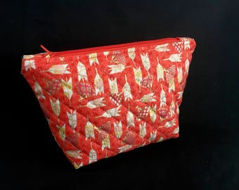 Cosmetic bag * arrows * make-up bag size M * arrows * quilted beauty case Orange