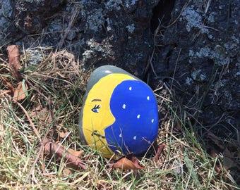 Moon & Stars Painted Rock