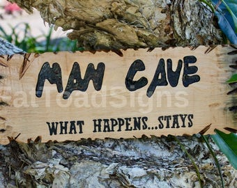 Man Cave Reclaimed Timber Sign, Hand Engraved, Hand Painted, Wooden Signs, Rustic, Gift Ideas, Fathers Day, Timber Signs, Handmade, Fun Sign