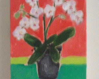 """small contemporary painting of """"orchids in grey vase """""""