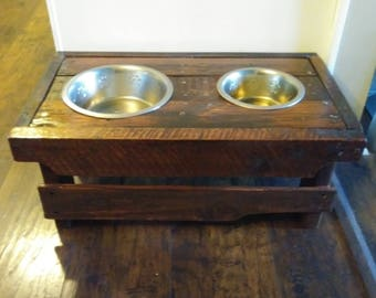 Dog bowl stand, handmade dog bowl stand, rustic dog bowl stand, feeding stand