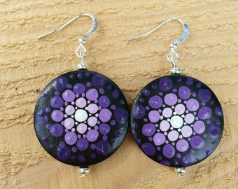 Purple handpainted mandala wooden earrings