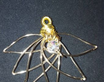 Golden Wire Wrapped Lotus with Crystal Accent