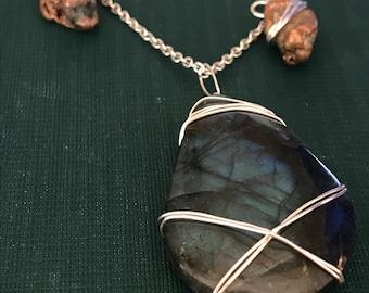 Labradorite and Copper Nugget Necklace