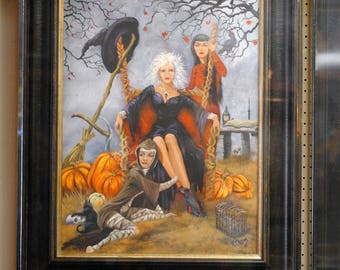 Witches, Halloween, Kathy Chism, original painting