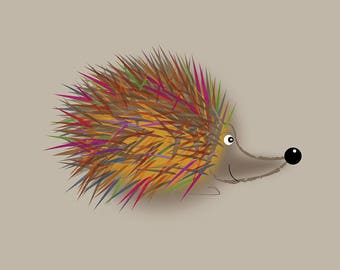 Punk Hedgehog - Cute and Quirky Hedgehog Card (Blank Inside)