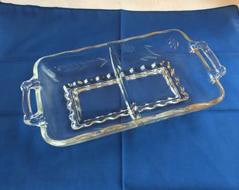 Vintage clear glass divided dish
