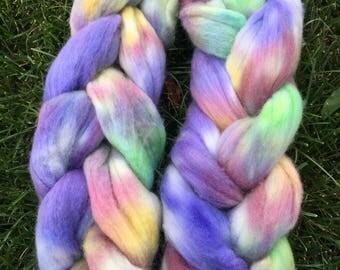 Hand-painted fiber, combed top for spinning or felting