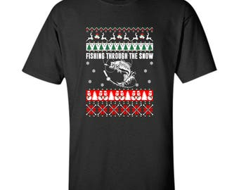 Fishing Through The Snow Ugly Christmas sweater Men's Gildan Ultra Cotton T-Shirt