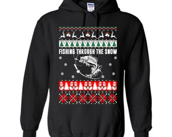 Fishing Through The Snow Ugly Christmas sweater Pullover Hoodie 8 oz Sweater