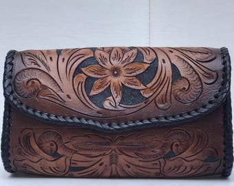 Hand Tooled Leather Clutch/Crossbody