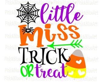 Little Miss Trick or Treat SVG Clipart Cut Files Silhouette Cameo Svg for Cricut and Vinyl File cutting Digital cuts file DXF Png Pdf Eps
