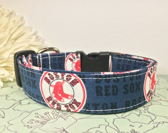 Boston Red Sox Adjustable Dog Collar Cotton Fabric MLB Baseball Handmade Multiple Widths and Lengths to Choose From