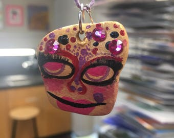 ceramic pendy w purple glass beads and purple hemp string