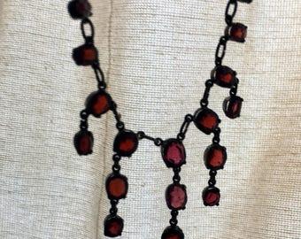1980 Custom made Garnet Necklace Art Nouveau Inspired