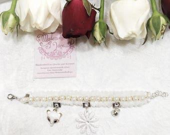 "Beautiful ""Fuyu"" Bracelet with Elegant White Lace and Golden Vintage Beads"