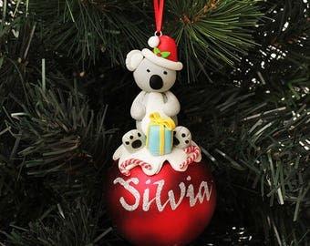Koala Character Personalised Red Christmas Decoration