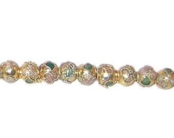 6mm Gold Round Cloisonne Bead, 10 beads