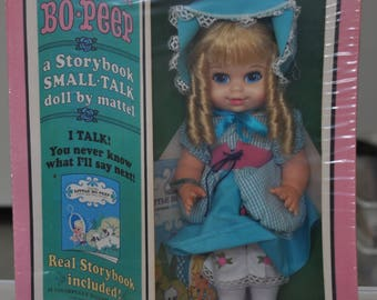 bo-peep storybook pull string talking doll by mattel 1969 stock # 3066