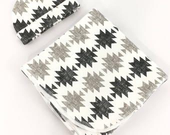 Swaddle and Hat Set - Swaddle Set - Swaddler - Boy Swaddle Set - Baby Blanket - Swaddling Blanket - Receiving Blanket - Baby Wrap