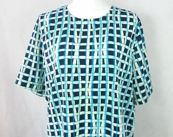30% OFF VDAY SALE Vintage 90s Alfred Dunner Plaid Checkered Print Blue Black Boxy Short Sleeve Shirt Top Blouse Sz 18 1X Plus Size