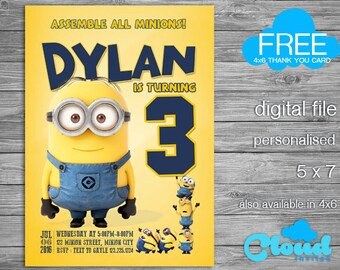 Minion Birthday Invitation, Minions, Minion Invitation, Minion Party, Birthday Printables