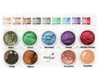 "MAHYA ""Winter"" 100% Pure Mineral Vegan Multi-Purpose Eye Shadow Pigment 9 Colors STACK"