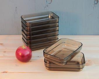 Arcoroc France Smoked Glass Mini Casseroles, Set of 8