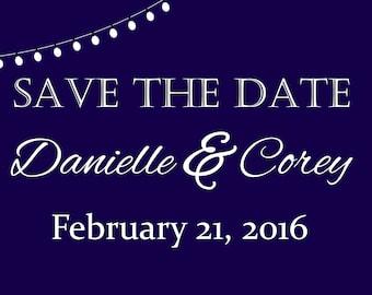 50 piece custom PRINTED save the dates wedding invitation