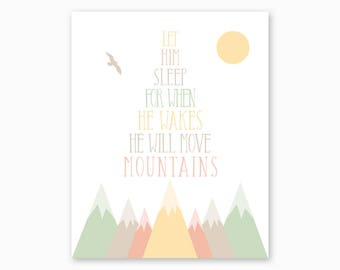 MOUNTAIN NURSERY ART, He Will Move Mountains, Boy Nursery, New Baby Gift, Baby Shower Gift, Digital Nursery Printable, Instant Download