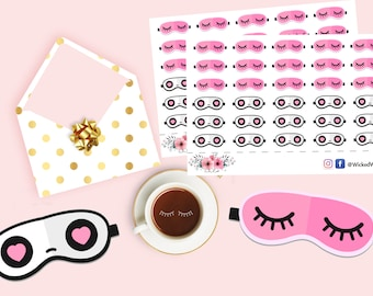 Beauty Time Sticker,  Me Time Planning, Eye Lash Planner Stickers, Night Mask Stickers, Scrapbook Stickers, Planner Stationary Accessories