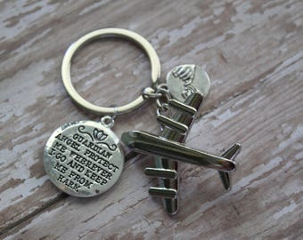 Silver Airplane Charm Key Chain With Gaurdian Angel Charm and Pinky Promise You'll Come Home-World Traveler-Pilot-Flight Attendant Key Ring