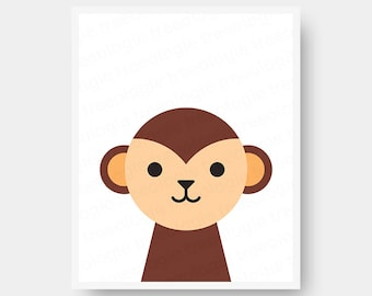 Monkey Nursery Wall Art Digital Download