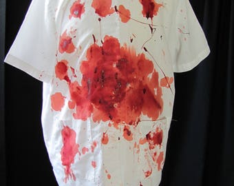 bloody shirt (L/XL) costume, orderly shirt, medical shirt, halloween costume, zombie shirt, medical costume, undead, living dead, large, #1