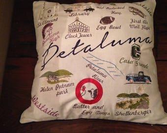 Petaluma Map/Landmark Pillow Cover